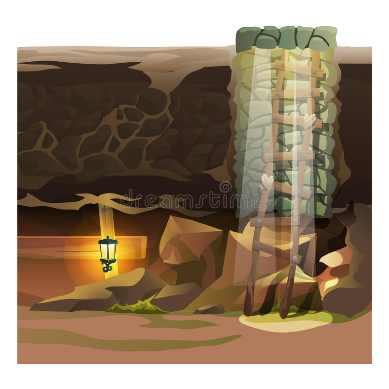 Game concept, descent into the dungeon stock illustration