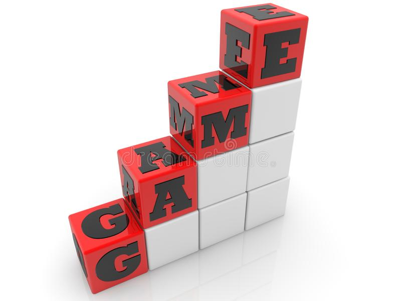 Game concept on red and white cubes. In background vector illustration