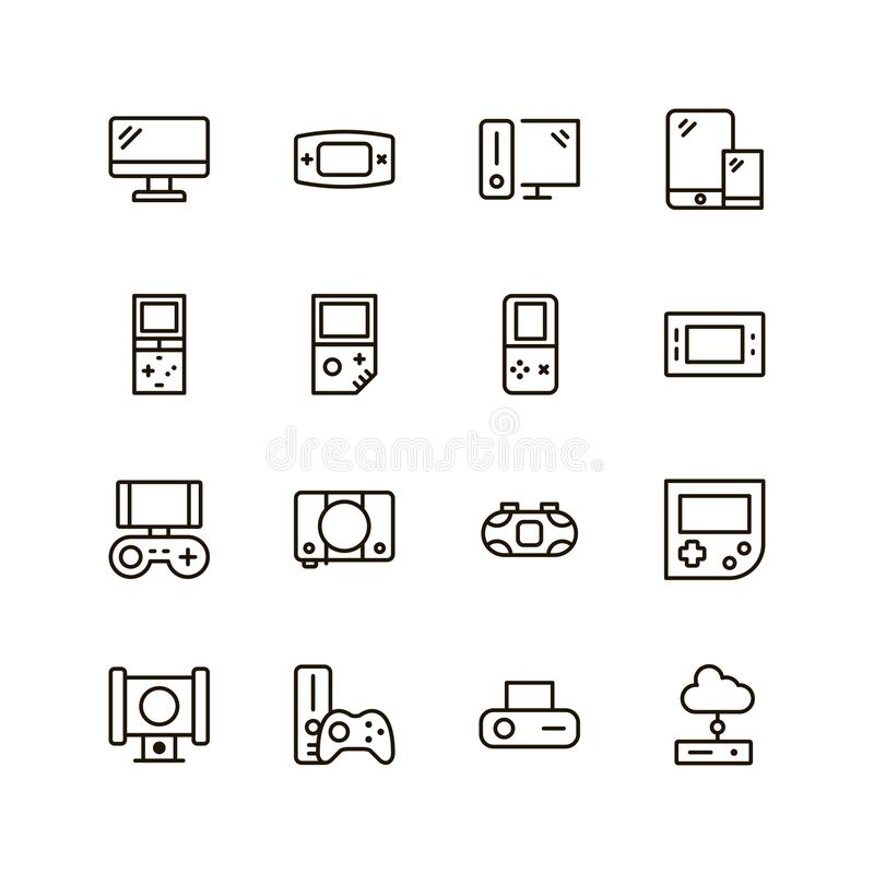 Game console icon set. Collection of high quality outline game pictograms in modern flat style. Black control symbol for web design and mobile app on white stock illustration