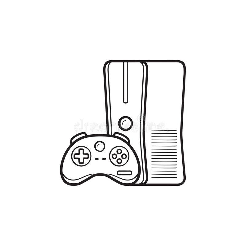 Game console with joystick hand drawn outline doodle icon. Home console, video game console concept. Vector sketch illustration for print, web, mobile and stock illustration