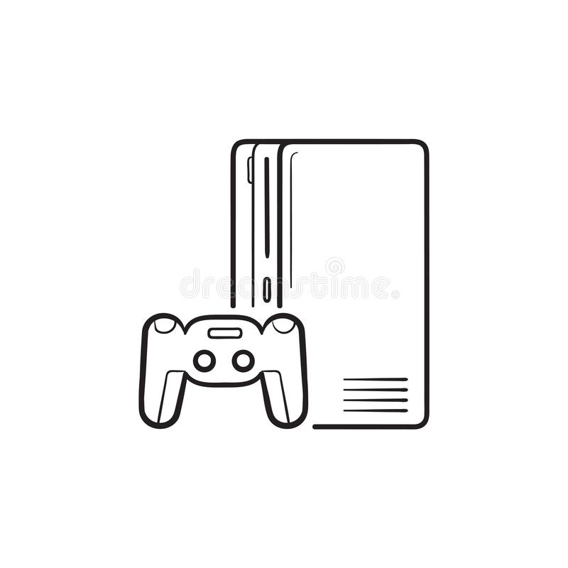 Game console with joystick hand drawn outline doodle icon. Home console, video game console concept. Vector sketch illustration for print, web, mobile and royalty free illustration