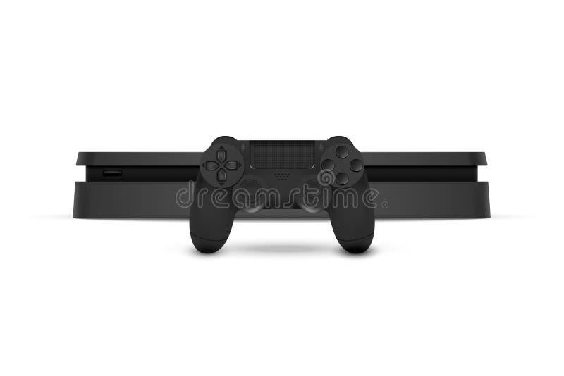 Game console with joystick isolated on white background. Vector illustration. Eps 10 stock illustration
