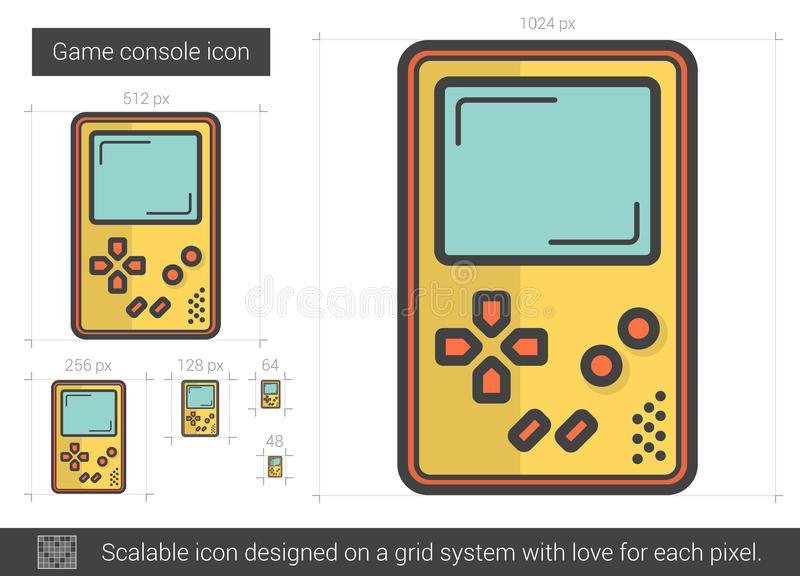 Game console line icon. royalty free illustration