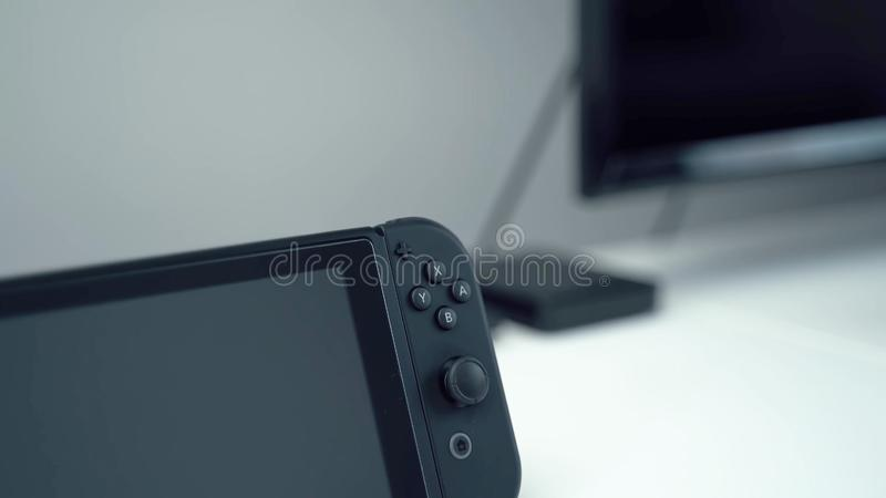 Close-up buttons of a protatin game in black royalty free stock image