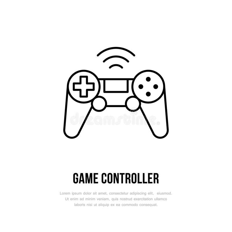 Game controller flat line icon. Gaming sign, vector illustration of gamepad. Thin linear logo for technology store.  vector illustration