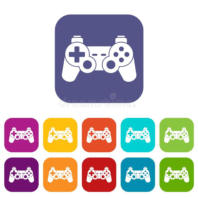 Game controller icons set. Vector illustration in flat style in colors red, blue, green, and other vector illustration