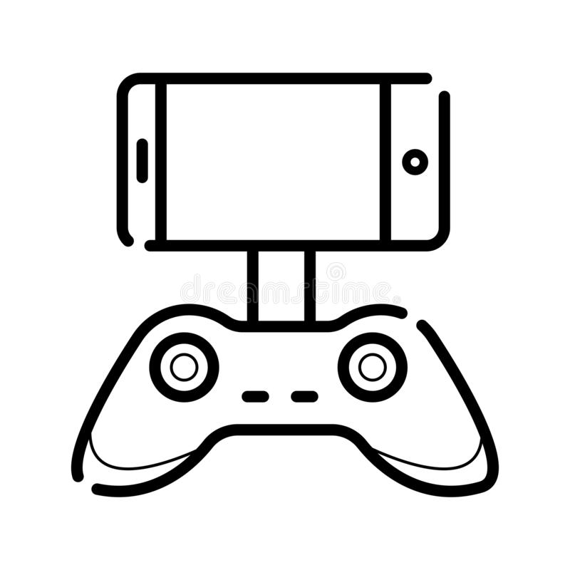 Game controller for smartphone or tablet. Icon stock illustration