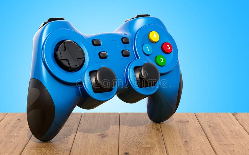 Game controller on the wooden table. 3D rendering. Game controller on the wooden table. 3D stock illustration