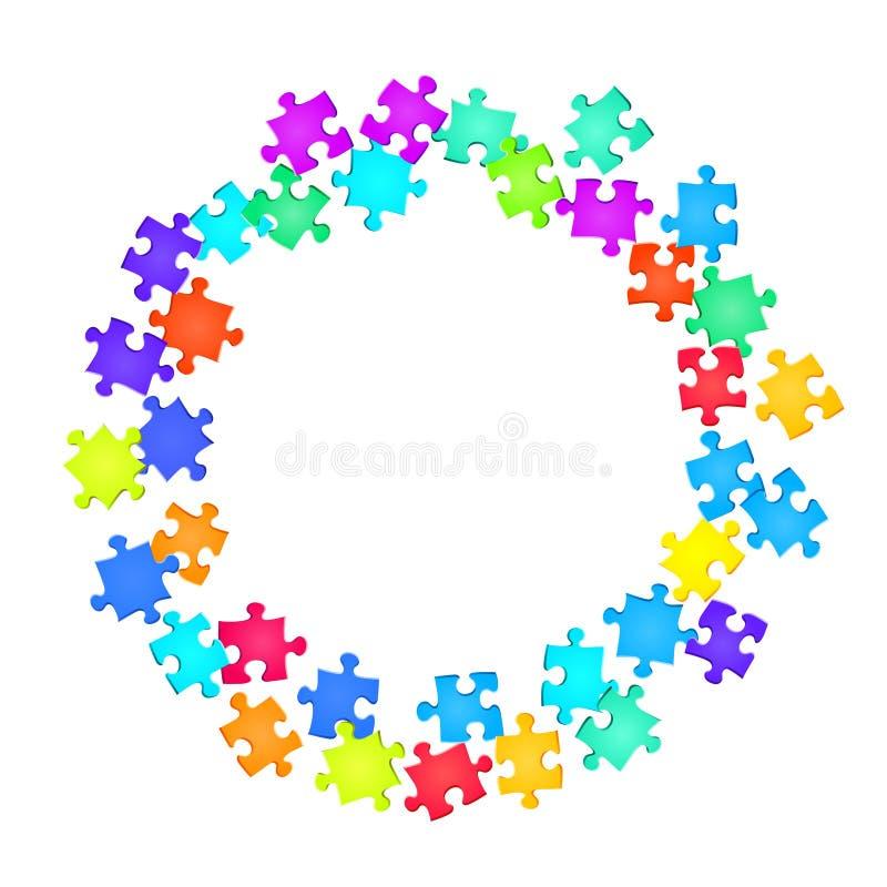 Game crux jigsaw puzzle rainbow colors pieces vector illustration
