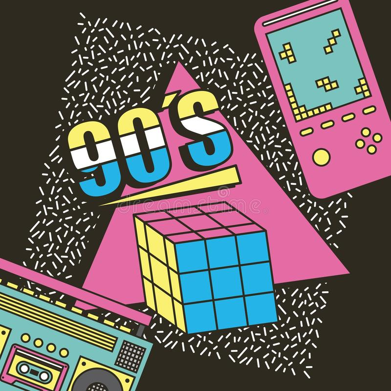 Game cube rubik tape recorder and play video 90s entertainment vintage vector illustration