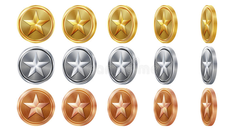Game 3D Gold, Silver, Bronze Coins Set Vector With Star. Flip Different Angles. Achievement Coin Icons, Sign, Success. Winner, Bonus, Cash Symbol. Illustration vector illustration