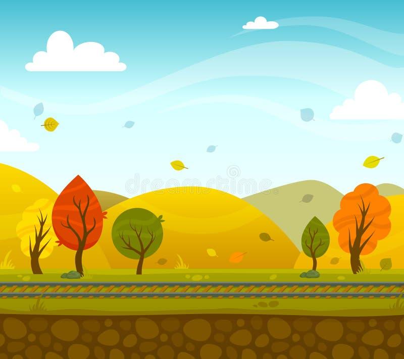 Game 2d Park Landscape. Game 2d autumn park landscape with railroad and hills on background vector illustration vector illustration