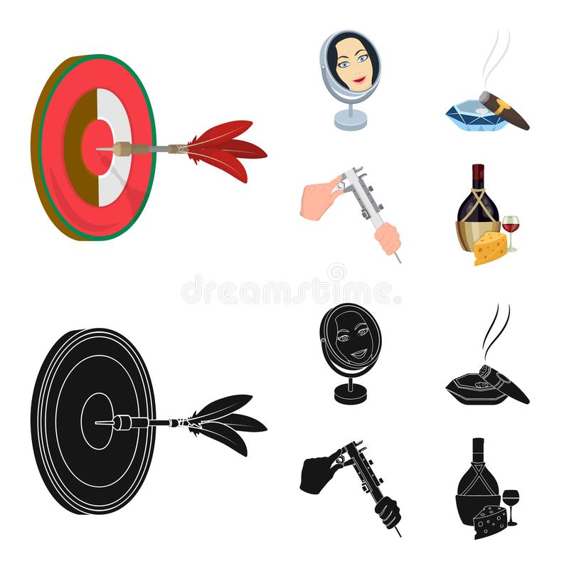 Game Darts, reflection in the mirror and other web icon in cartoon,black style. Cigar in ashtray, calipers in hands. Game Darts, reflection in the mirror and royalty free illustration