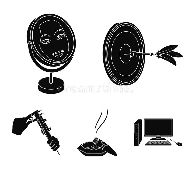 Game Darts, reflection in the mirror and other web icon in black style. Cigar in ashtray, calipers in hands icons in set. Game Darts, reflection in the mirror vector illustration