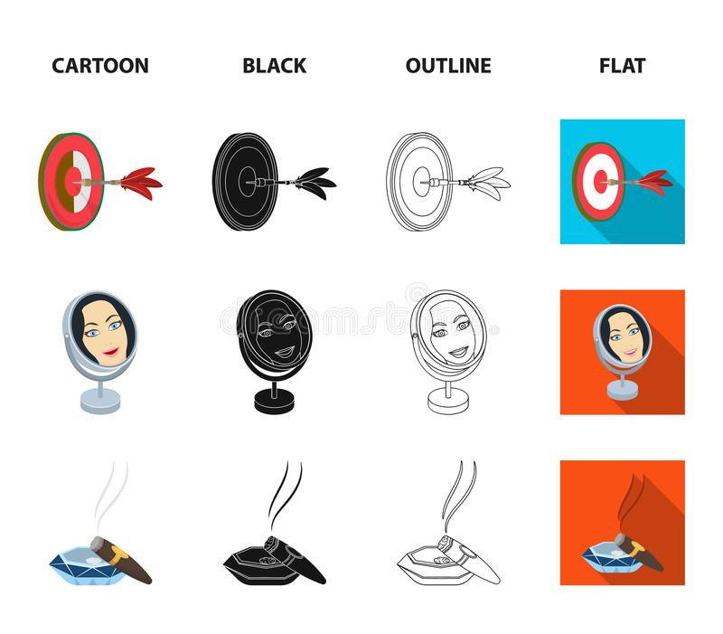 Game Darts, reflection in the mirror and other web icon in cartoon,black,outline,flat style. Cigar , calipers icons in. Game Darts, reflection in the mirror and royalty free illustration