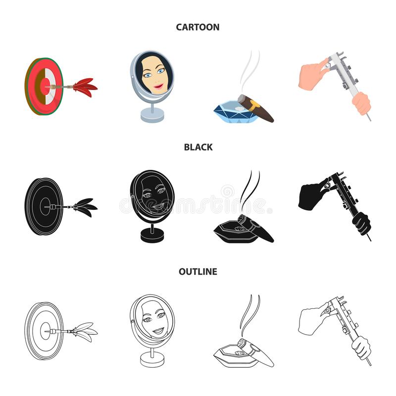 Game Darts, reflection in the mirror and other web icon in cartoon,black,outline style. Cigar in ashtray, calipers i in. Game Darts, reflection in the mirror and royalty free illustration