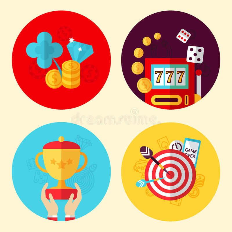 Game design set. Game design flat round concept set with risk sport and leisure games isolated vector illustration vector illustration