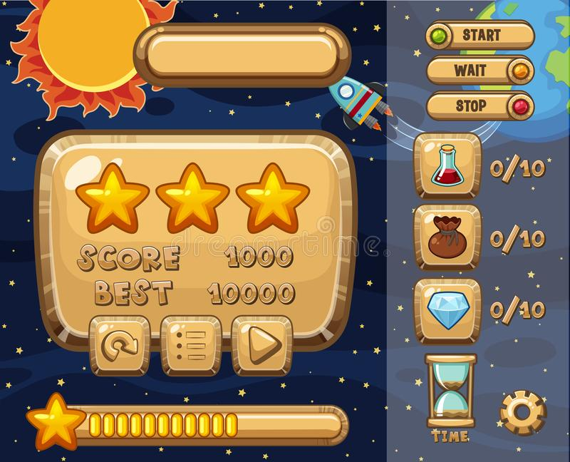 Game design with solar system theme. Illustration royalty free illustration