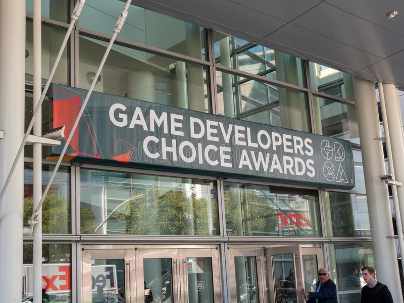Game Developer's Choice Awards banner for GDC 2018. SAN FRANCISCO, CA - MARCH 18, 2018: Game Developer's Choice Awards banner for GDC 2018 in the royalty free stock photography