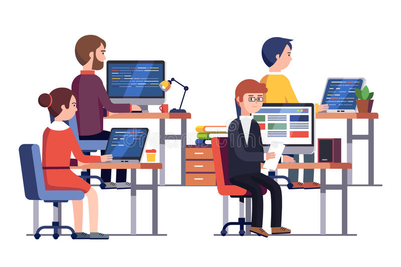 IT or game development company people at work stock illustration