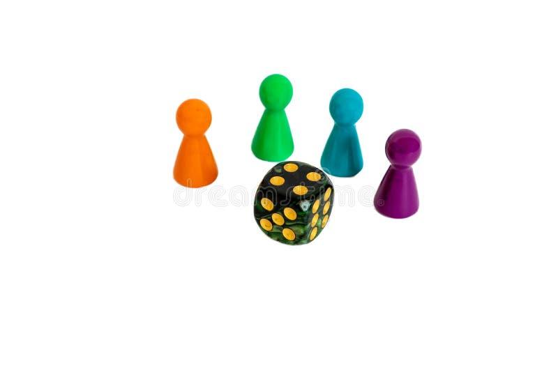 Game-doek geïsoleerd op witte kleurige figuur van mensen in het spel stock foto's