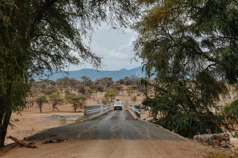 Game drive at the arid landscapes stock photos