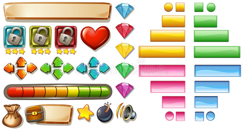 Game elements with buttons and bars vector illustration