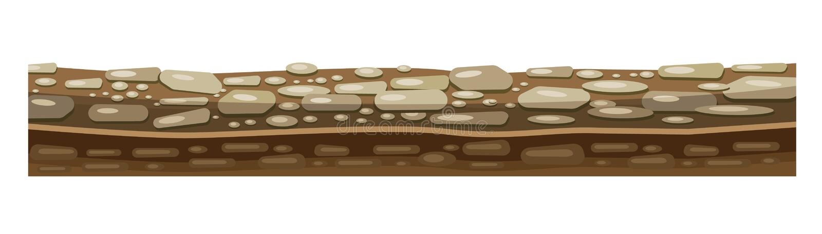 Texture of soil, ground for level of game with rocks. vector illustration