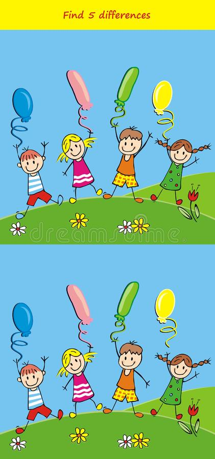 Game, find five difference, kids and balloons, royalty free illustration