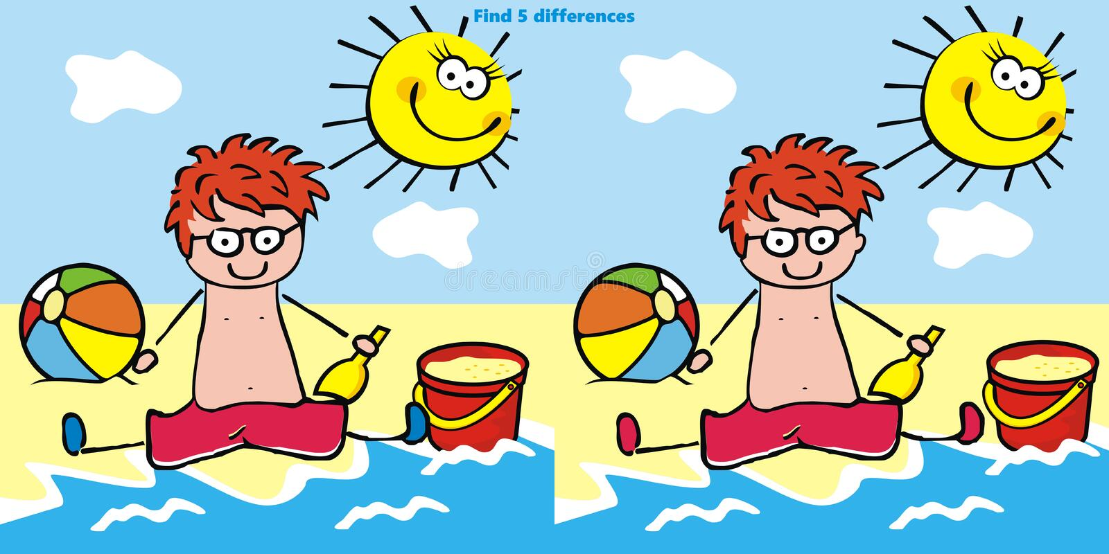 Game, find five differences, little boy on the beach, funny vector illustration stock illustration