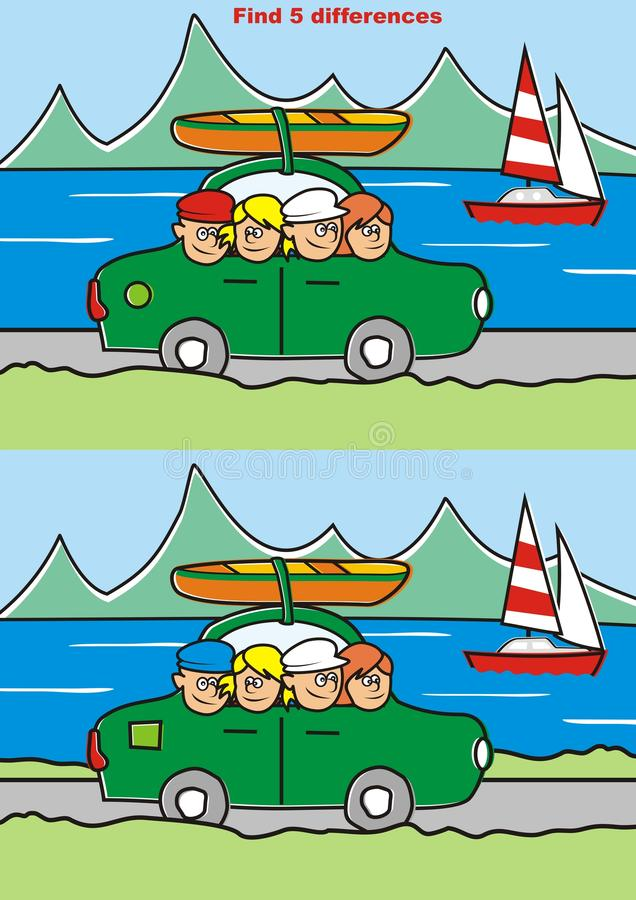 Game, find five differences royalty free illustration
