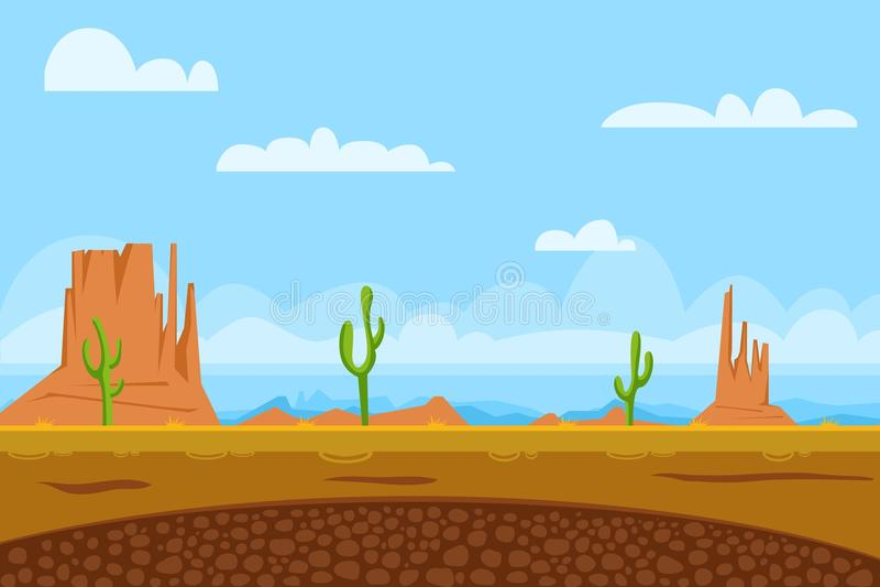 Game flat background shows desert vector illustration