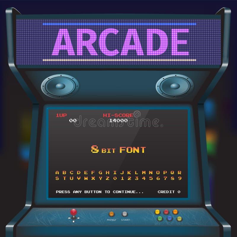 Game Font. Arcade Video Game Font. 8 bit font. Arcade Retro Machine vector illustration