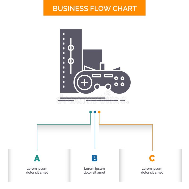 Game, gamepad, joystick, play, playstation Business Flow Chart Design with 3 Steps. Glyph Icon For Presentation Background. Template Place for text.. Vector stock illustration