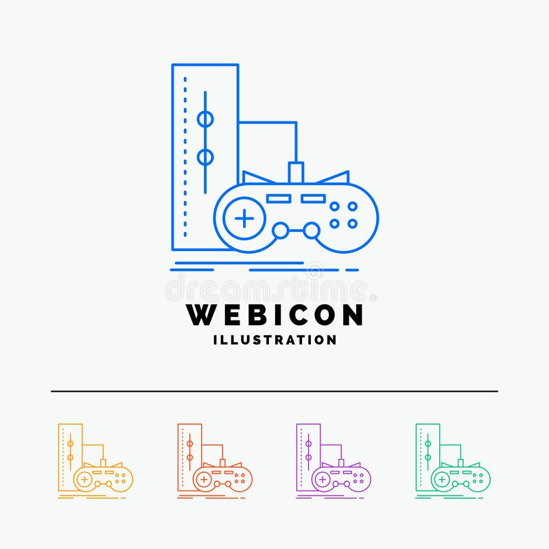 game, gamepad, joystick, play, playstation 5 Color Line Web Icon Template isolated on white. Vector illustration vector illustration
