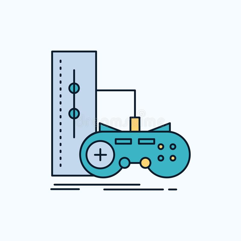 Game, gamepad, joystick, play, playstation Flat Icon. green and Yellow sign and symbols for website and Mobile appliation. vector. Illustration. Vector EPS10 vector illustration