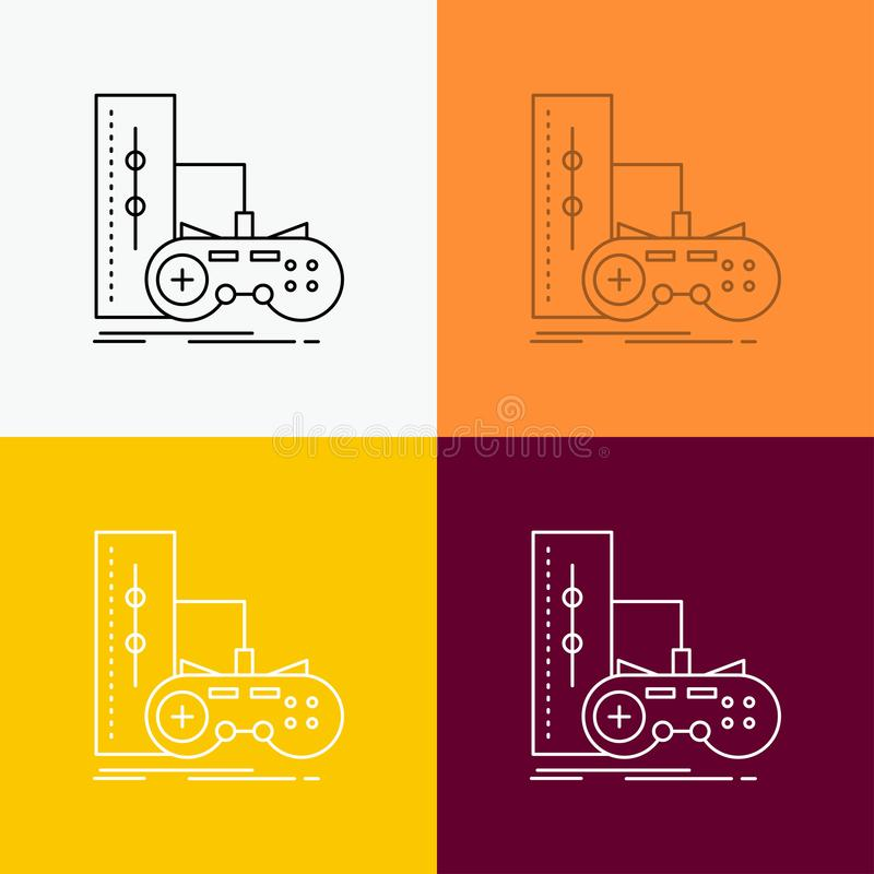 Game, gamepad, joystick, play, playstation Icon Over Various Background. Line style design, designed for web and app. Eps 10. Vector illustration. Vector EPS10 royalty free illustration