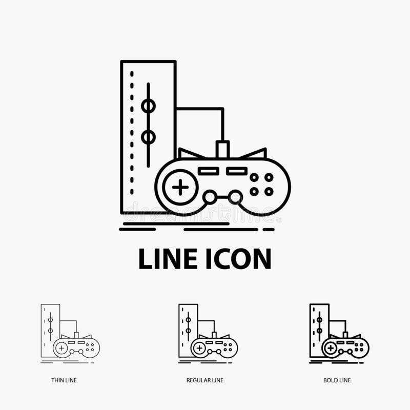 Game, gamepad, joystick, play, playstation Icon in Thin, Regular and Bold Line Style. Vector illustration. Vector EPS10 Abstract Template background royalty free illustration