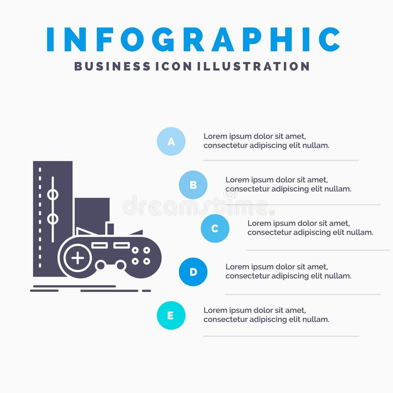 Game, gamepad, joystick, play, playstation Infographics Template for Website and Presentation. GLyph Gray icon with Blue. Infographic style vector illustration vector illustration