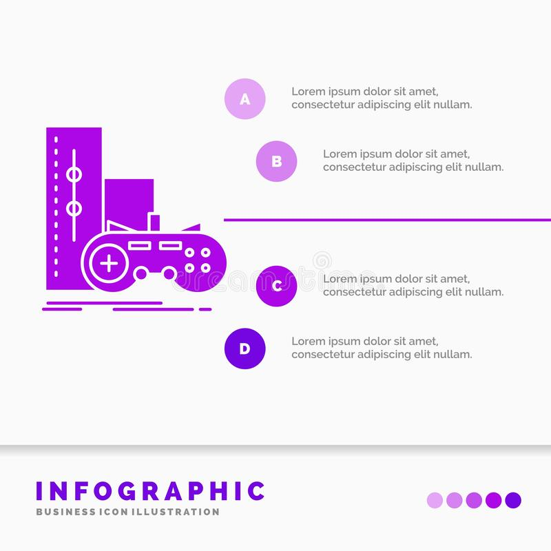 Game, gamepad, joystick, play, playstation Infographics Template for Website and Presentation. GLyph Purple icon infographic style. Vector illustration.. Vector stock illustration