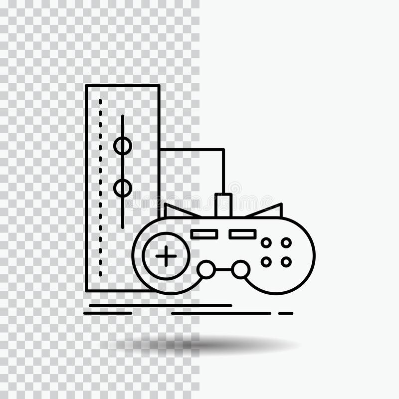 Game, gamepad, joystick, play, playstation Line Icon on Transparent Background. Black Icon Vector Illustration. Vector EPS10 Abstract Template background royalty free illustration