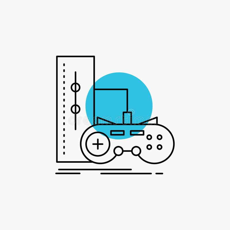 Game, gamepad, joystick, play, playstation Line Icon. Vector EPS10 Abstract Template background vector illustration