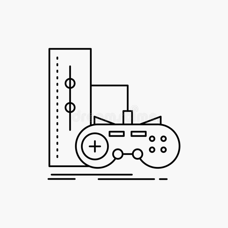 Game, gamepad, joystick, play, playstation Line Icon. Vector isolated illustration. Vector EPS10 Abstract Template background royalty free illustration