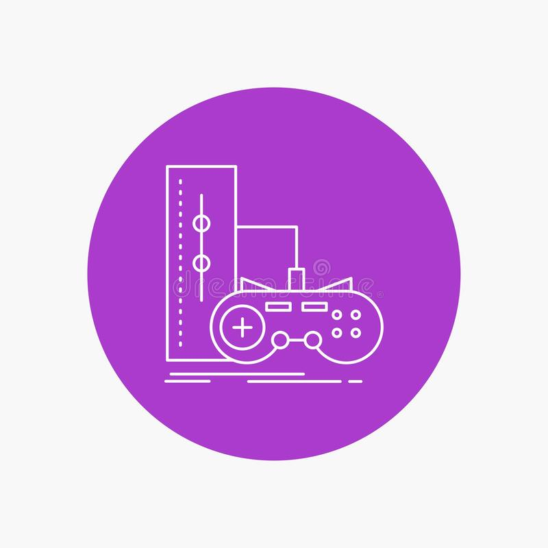 Game, gamepad, joystick, play, playstation White Line Icon in Circle background. vector icon illustration. Vector EPS10 Abstract Template background vector illustration