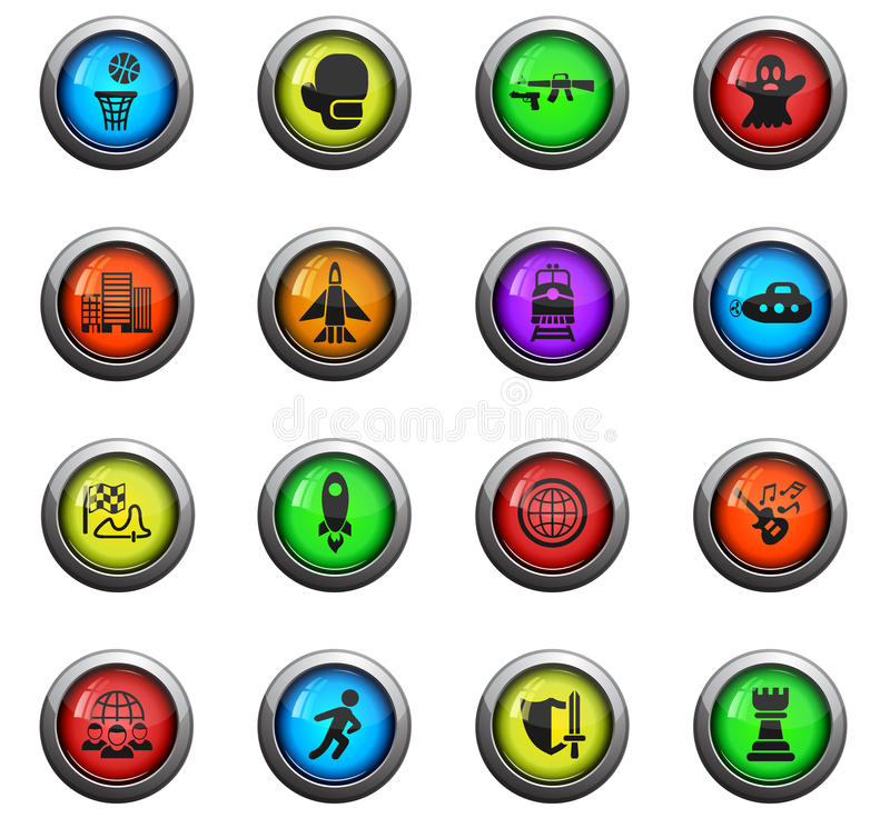 Game genre icon set. Game genre icons on color round glass buttons for your design vector illustration