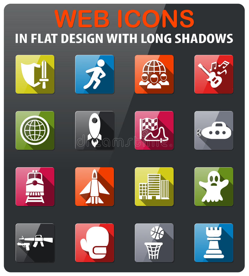 Game genre icon set. Game genre icons set in flat design with long shadow vector illustration