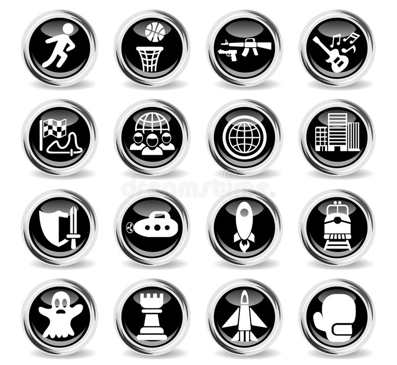 Game genre icon set. Game genre icons on stylish round chromed buttons vector illustration