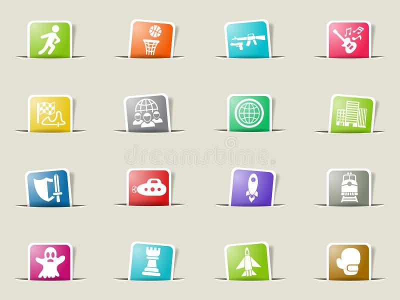 game genre icon set stock illustration