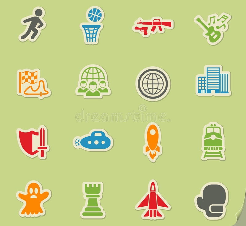 Game genre icon set. Game genre web icons on color paper stickers for user interface vector illustration