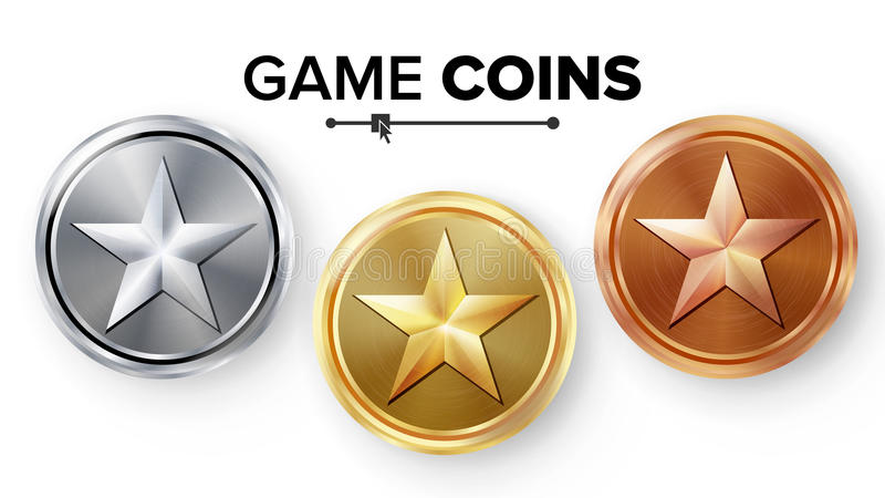 Game Gold, Silver, Bronze Coins Set Vector With Star. Realistic Achievement Icon Illustration. Rank Medals For Game User Interface. Web, Video Game stock illustration